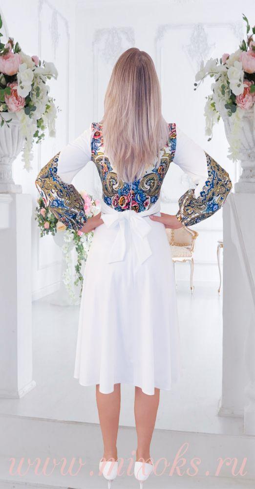 Платье коктейльное миди молочного цвета