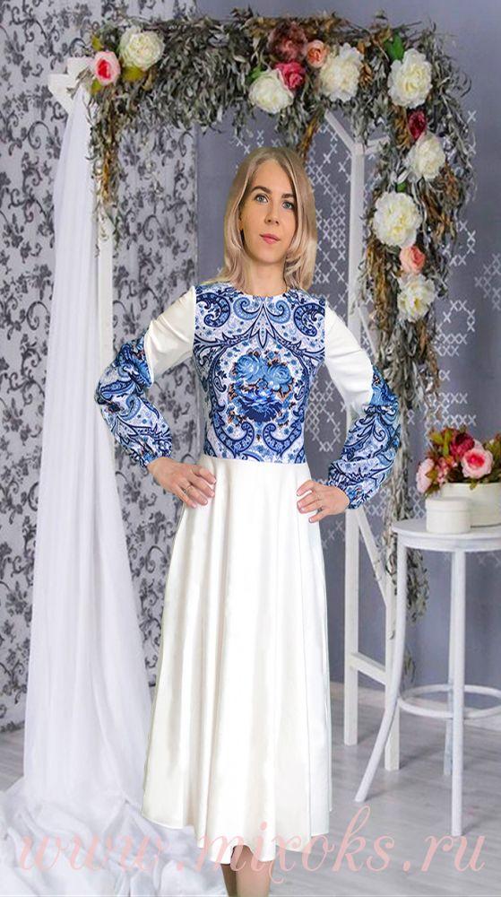 Платье в русском стиле из платка