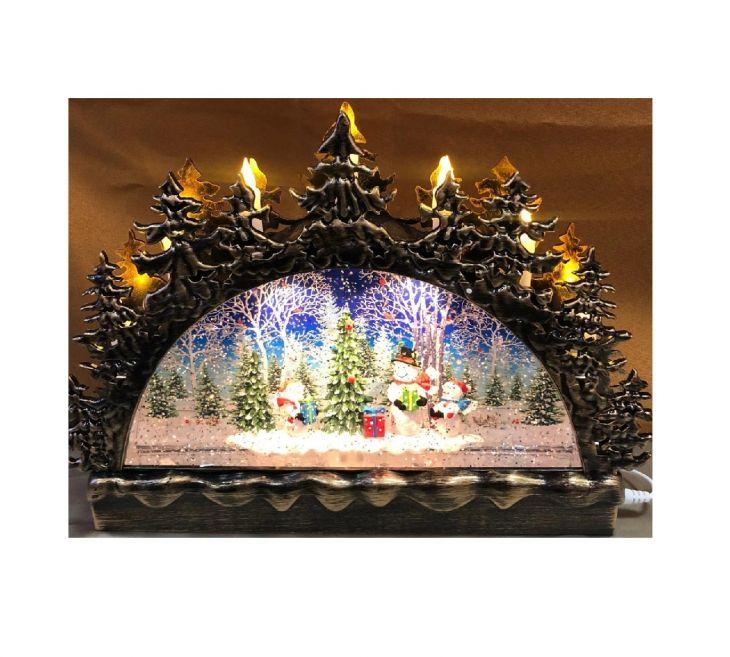 Горка снеговики со свечами и снегопадом арт.543