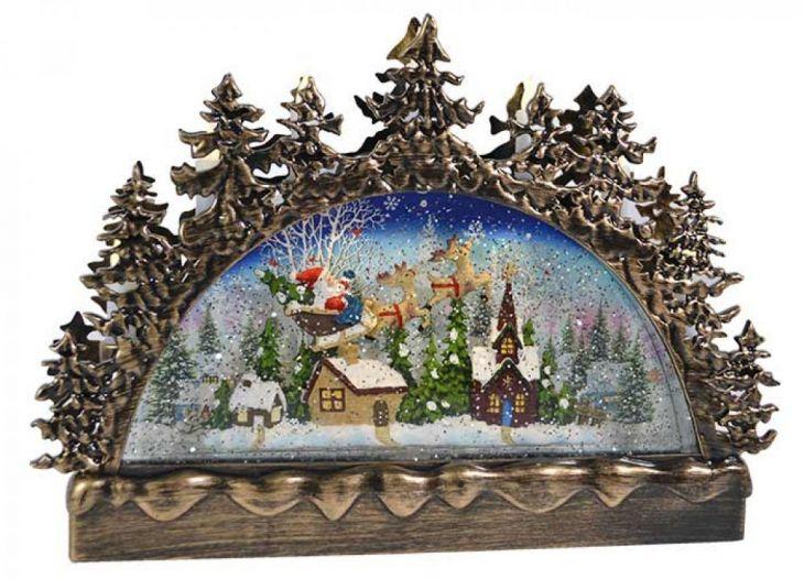 Горка Санта со свечами и снегопадом арт.542