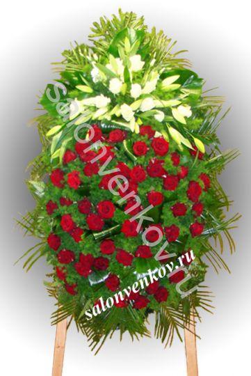 Элитный траурный венок из живых цветов №101, РАЗМЕР 100см,120см,140см,170см