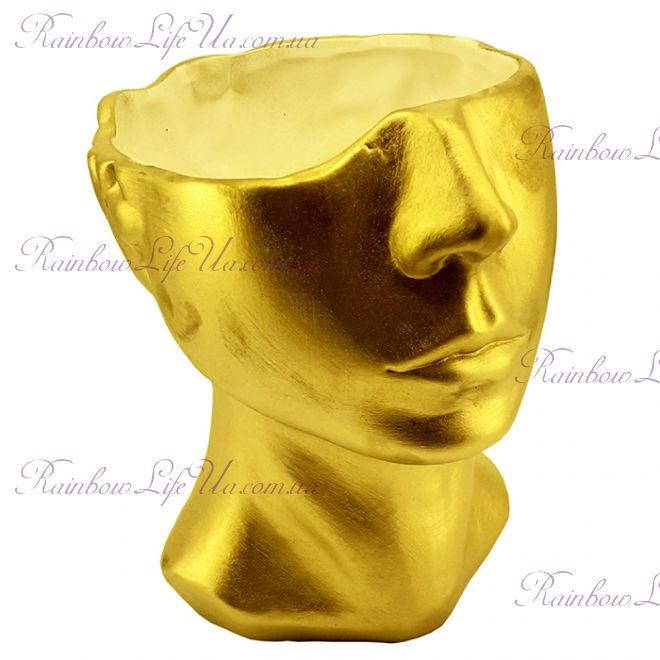 """Ваза - кашпо """"Голова"""" золото"""