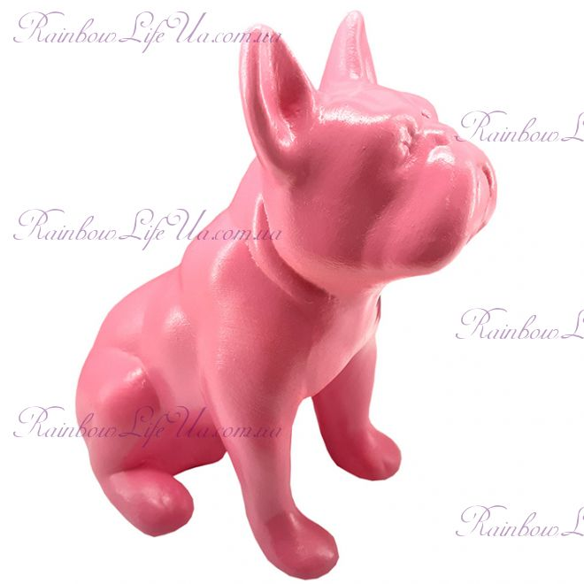 "Фигурка собака ""Французский бульдог сидячий"" розовый"