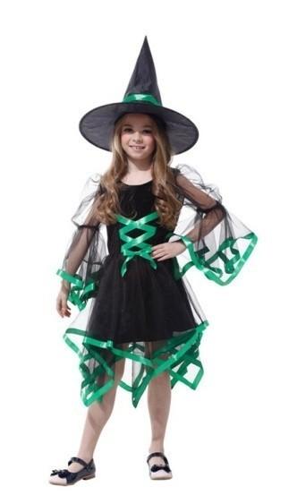 Детский костюм ведьмочки зеленый