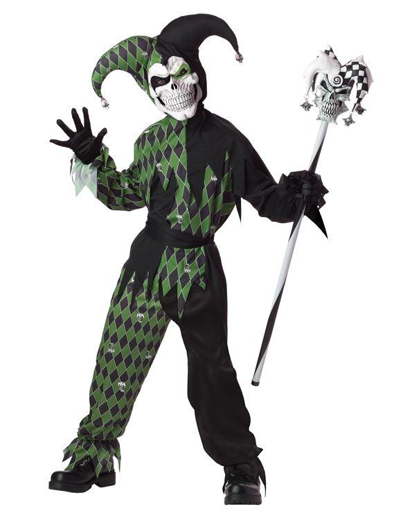 Детский костюм дьявольского шута черно-зеленый