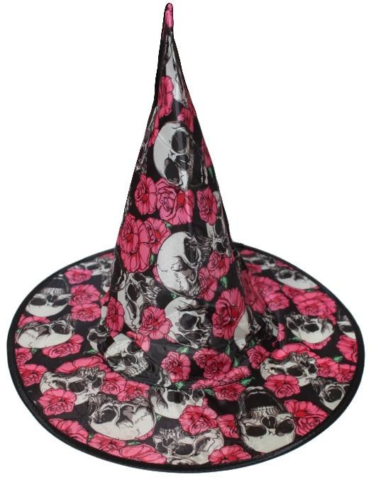 Детский колпак ведьмы с розами и черепами