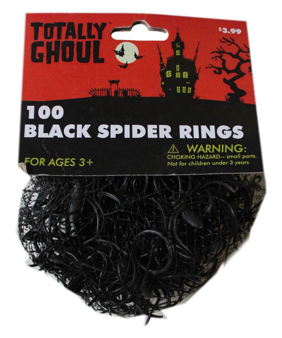 100 черных колец с пауками