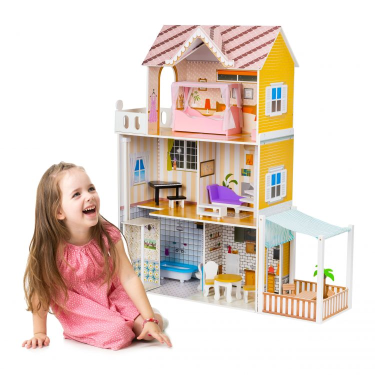 Кукольный домик деревянный+светодиодное освещение.