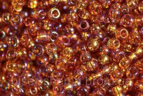 Бисер чешский 11090 темно-янтарный прозрачный радужный Preciosa 1 сорт