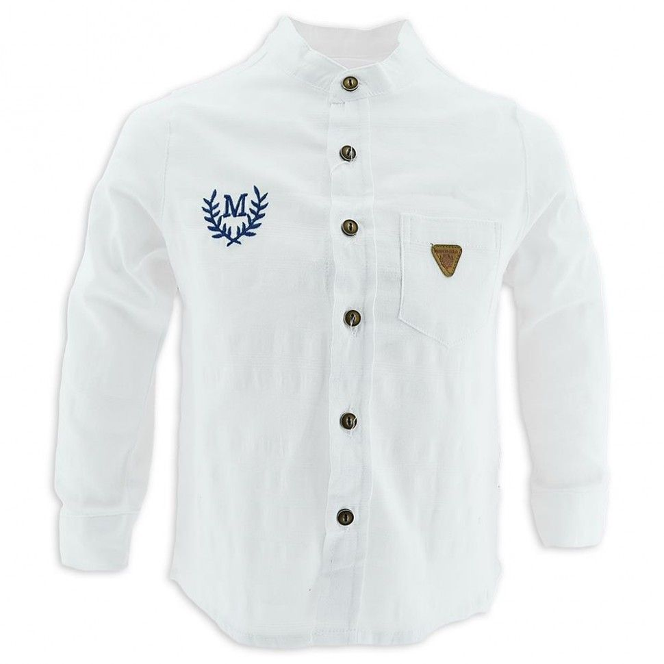 """Рубашка с длинным рукавом """"М"""" для мальчика 6-12 (белый)"""