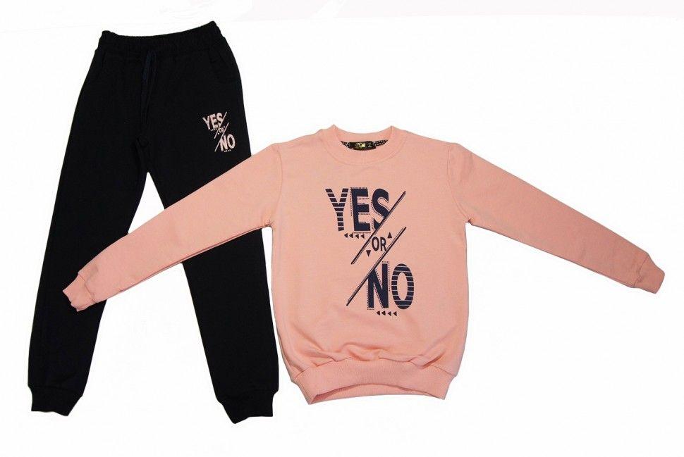 """Спортивный комплект """"YES or NOT"""" для девочки : свитшот, брюки 5-8 лет (персиковый)"""