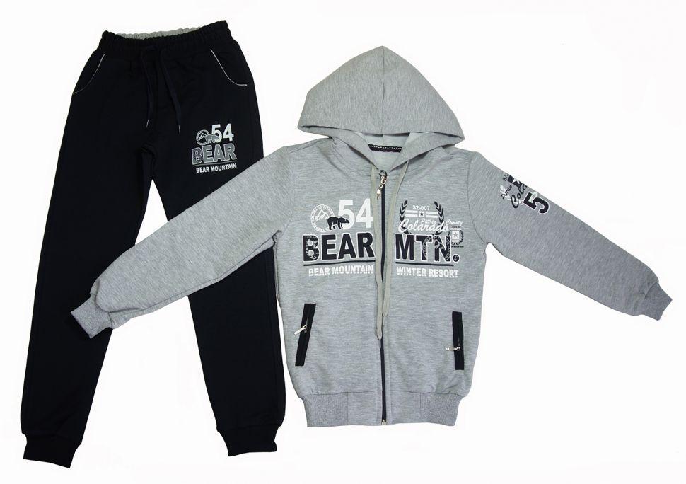 """Спортивный костюм для мальчика """"54 BEAR"""": толстовка с капюшоном на молнии, брюки 5-8 лет (серый)"""