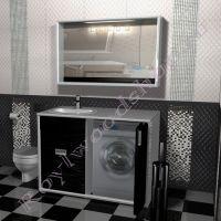 """Тумба под стиральную машину """"Глосси-1"""" бело- черная, раковина слева"""