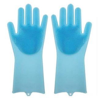 Многофункциональные силиконовые перчатки Magic Brush, Голубой