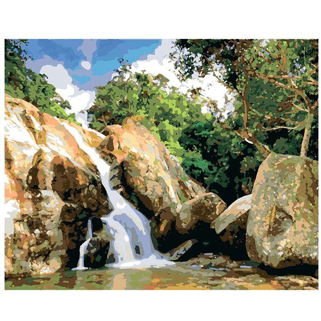Роспись по холсту Водопад в Тайланде 40х50см