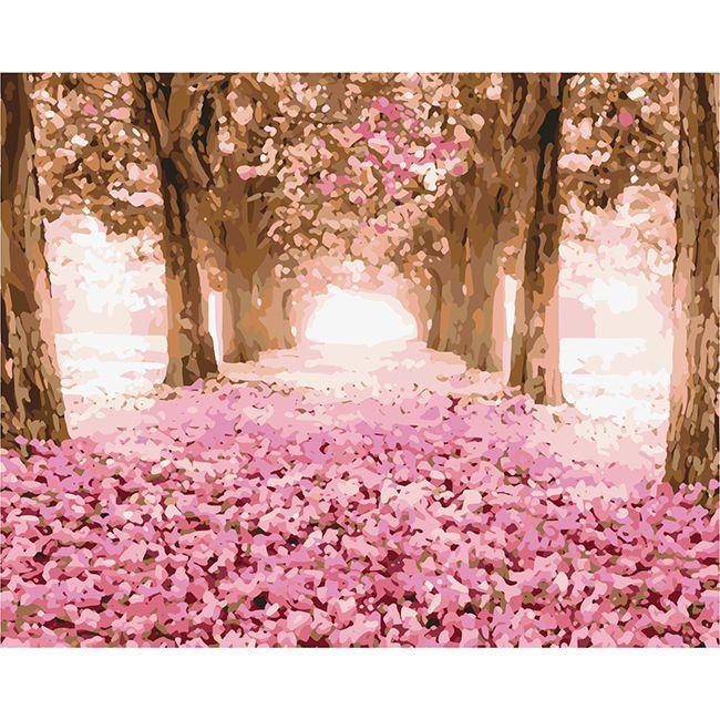 Роспись по холсту Розовая осень 40х50см