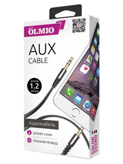 Аудиокабель AUX 3.5мм(m)-3.5мм(m), длина 1.2м, плоский провод, металлический штекер, черный, OLMIO