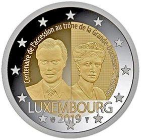 100 лет вступления на трон Великой Герцогини Шарлотты 2 евро Люксембург 2019 UNC
