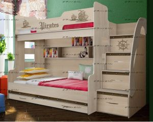 Кровать двухъярусная Тревел/пираты ФТР-21, трехместная