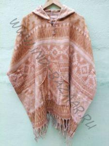 NEW! Теплое непальское пончо бежевого цвета