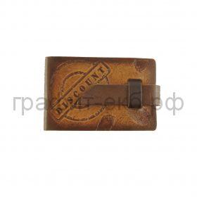 Визитница 36в.Белый ясень Discount коричневая на хлястике 070110