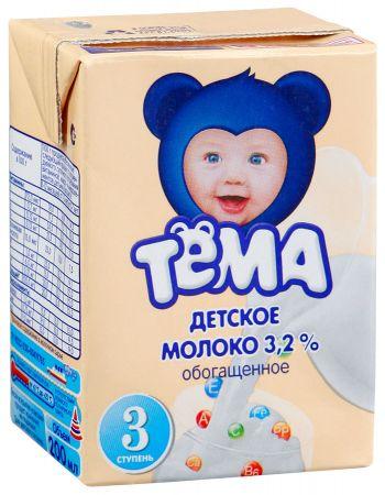 Молоко Тема витамин 3,2% Tetra Brik Aseptic 0200гр