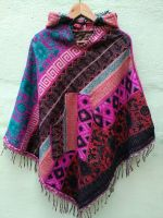 Теплое шерстяное треугольное пончо плед из Непала. Купить в интернет магазине с бесплатной доставкой