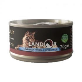 Ландор для взрослых кошек куриная грудка с креветкой 70г