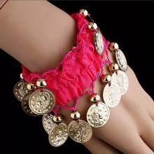 Карнавальный браслет для восточных танцев (набор 2 штуки) с монетами розовый