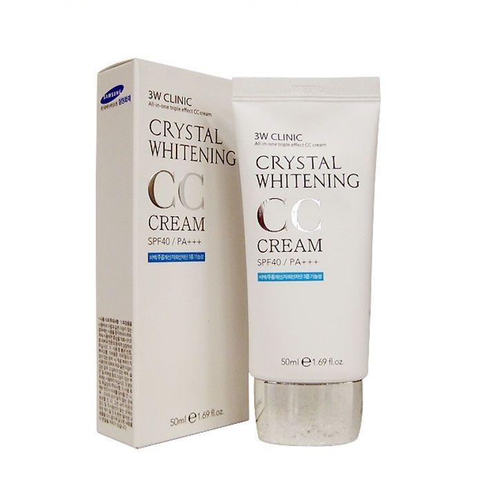 [3W CLINIC] Осветляющий СС крем для лица Crystal Whitening CC Cream SPF 50/PA+++ (glitter beige), 50