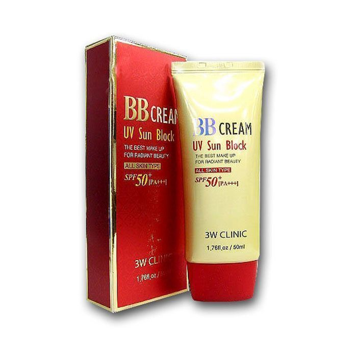 [3W CLINIC] Солнцезащитный BB крем для лица BB Cream UV Sun Block, 50 мл