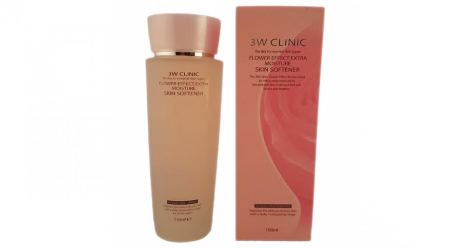 [3W CLINIC] УВЛАЖНЕНИЕ Скин-тоник д/лица Flower Effect Extra Moisture Skin Softener, 150 мл