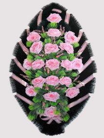 Ритуальный венок из искусственных цветов #21 розовый из роз и зелени
