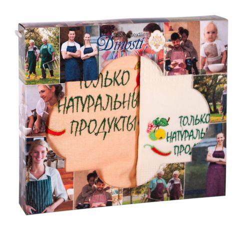 """Подарочный  набор ( фартук +вафельное полотенце )""""НАТУР ПРОДУКТЫ""""  №ДН0-46"""
