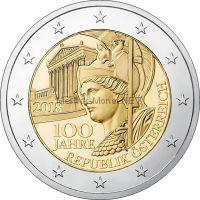 Австрия 2 евро 2018 100 лет Австрийской Республике