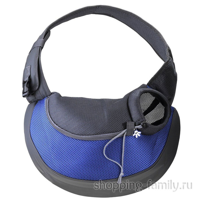 Сумка-переноска для кошек и мелких пород собак Single Shoulder Bag Sling, синяя