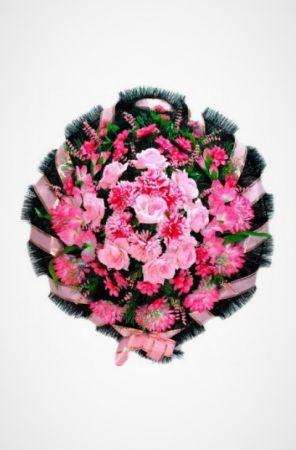 Фото Ритуальный венок Круг розовый хризантемы, гладиолусы и розы