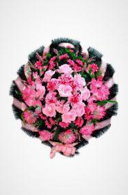 Ритуальный венок Круг розовый хризантемы, гладиолусы и розы