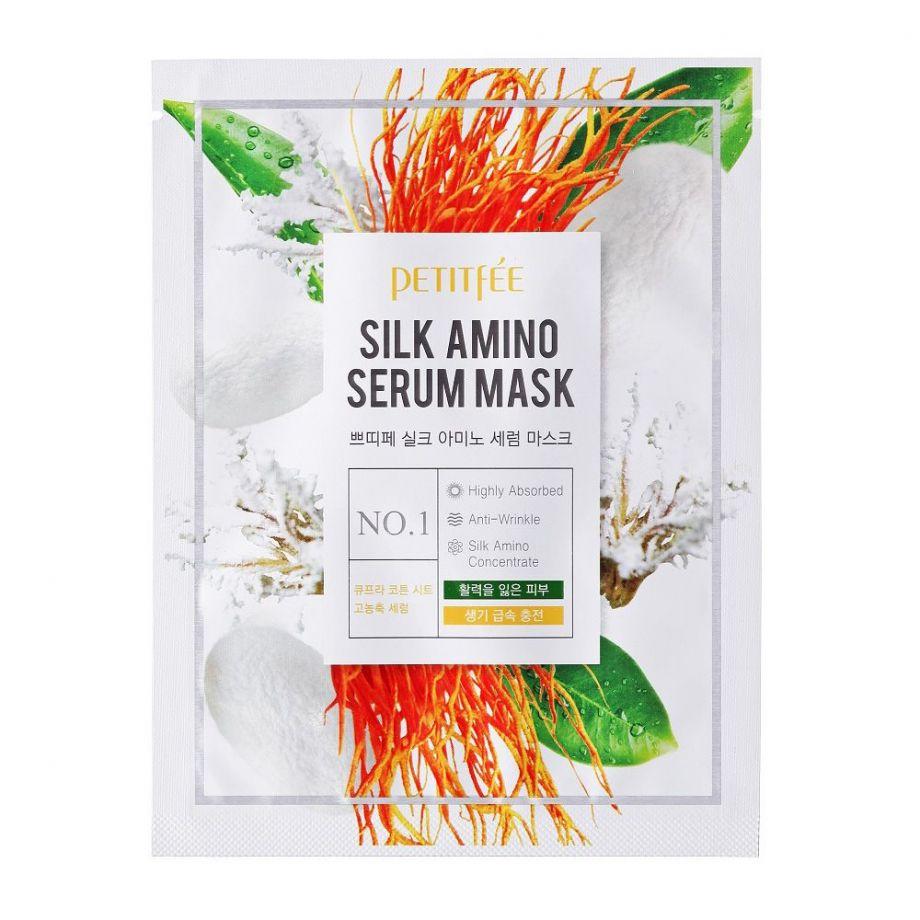 [PETITFEE] Маска д/лица тканевая с ПРОТЕИНАМИ ШЕЛКА Silk Amino Serum Mask, 25 гр