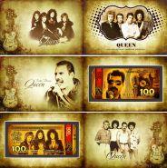 100 РУБЛЕЙ ПАМЯТНАЯ СУВЕНИРНАЯ КУПЮРА - QUEEN(ЗОЛОТО) , СЕРИЯ ЛЕГЕНДЫ МИРОВОЙ МУЗЫКИ В ПОДАРОЧНОМ БУКЛЕТЕ