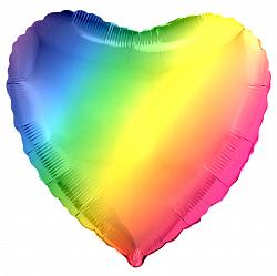 Сердце радужное фольгированный шар с гелием