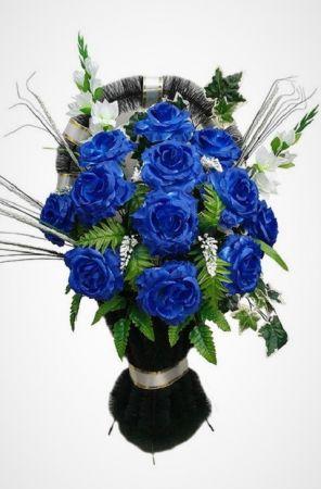 """Фото Ритуальная корзина """"Полуваза №3"""" синие розы, гладиолусы и зелень"""