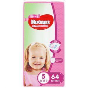 Подгузники Huggies Ultra Comfort для девочек 5 (12-22кг), 64шт