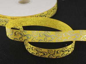`Лента репсовая с рисунком, ширина 22мм цвет: желтый