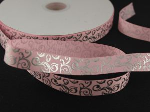 `Лента репсовая с рисунком, ширина 22мм цвет: светло-розовый