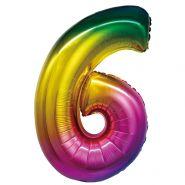 """Фигура """"6"""", 34""""/ 86 см, радуга"""