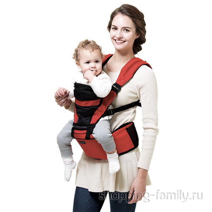 Многофункциональный хипсит со спинкой для переноски детей Hip Seat, цвет красный