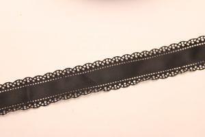 """Лента атласная """"вырубка"""", ширина 30 мм , длина 10 метров, цвет: черный"""