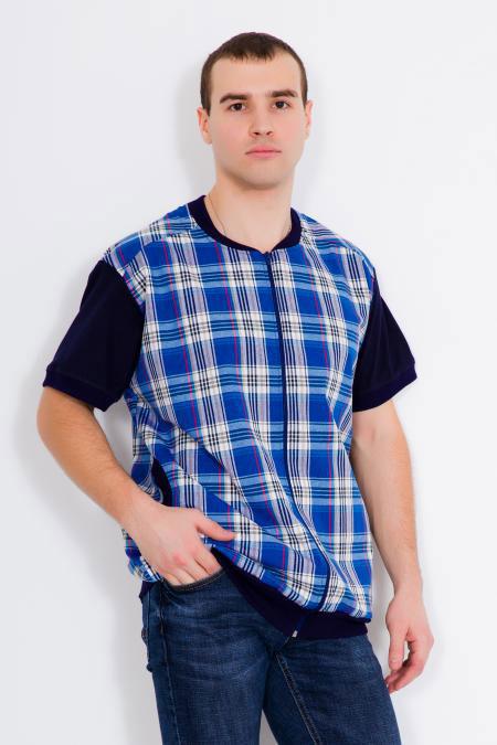 "Мужская рубашка ""Аполлон"", шотландка+кулирка"