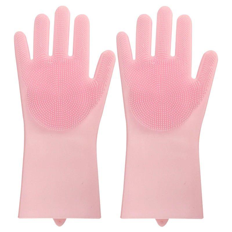 Многофункциональные Силиконовые Перчатки Magic Brush, Цвет Розовый